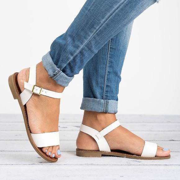 White Single Strap Sandals